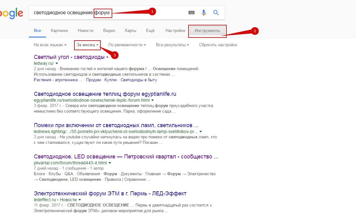 Poisk forumov v google